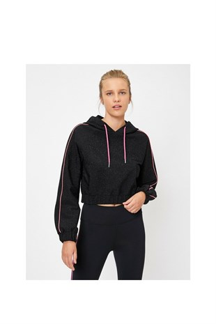 Ebru Şallı Loves Koton Sport Sweatshirt Black