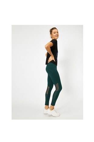 Ebru Şallı Loves Koton Sport Tulle Detailed Leggings Green