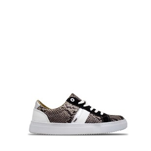 Ebru Şallı Snake Patterned Sneaker Black